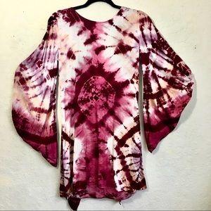 YFB Tie Dye Tunic Dress Low Back Long Back Tie